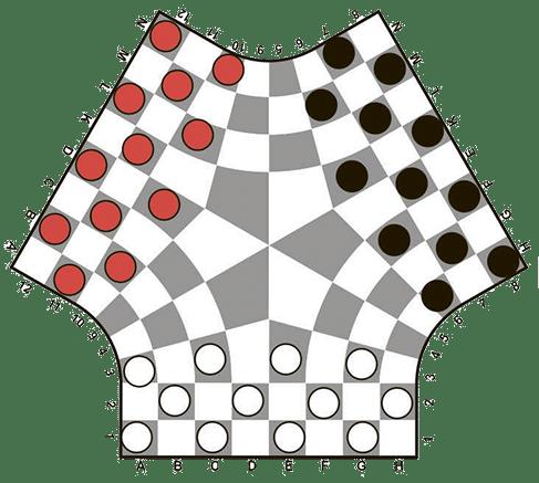 Начальная позиция в шашках на троих