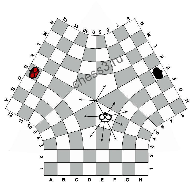 Правила ходов короля в центре поля в шахматах для троих
