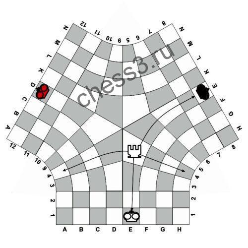 Правила ходов ладьи в центре поля в шахматах для троих