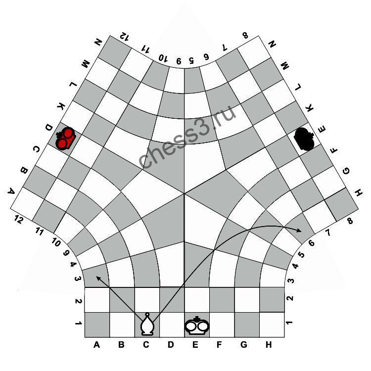 Правила по которым ходит слон в шахматах на троих